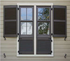 Heavy duty recessed stile and rail exterior louver shutter for Recessed panel shutters