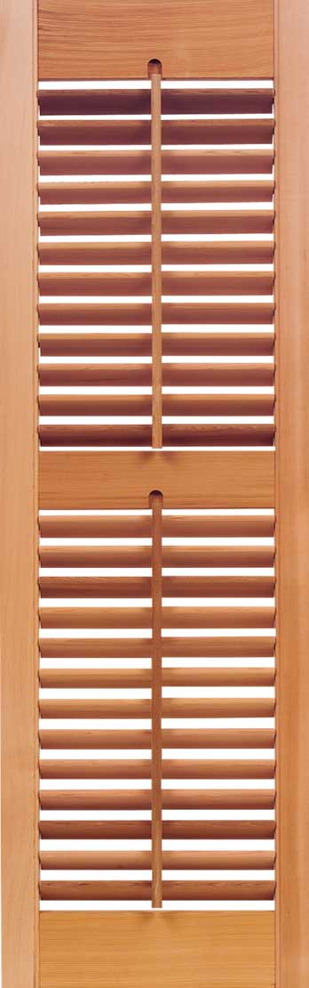 """Exterior: Plantation Movable 1 7/8"""" Louver Exterior Cedar Shutters"""