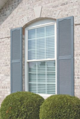 exterior louver. mid-america exterior master louver vinyl shutters, center mullion \u0026 cathedral top (pair