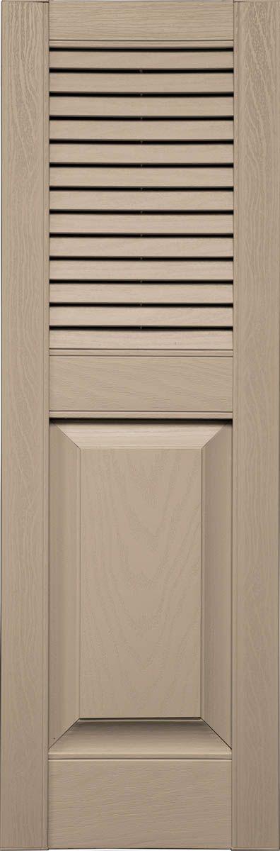 Custom louver raised panel combination vinyl shutters pair larson shutter company for Custom made exterior vinyl shutters