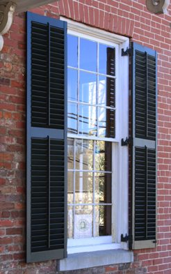 Wood louver shutters exterior plantation shutters movable - Exterior louvered window shutters ...